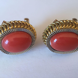 18k Dark Salmon Coral Cabachon Earrings