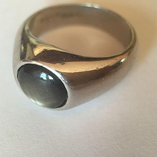 Platinum Black Star Saphire Ring