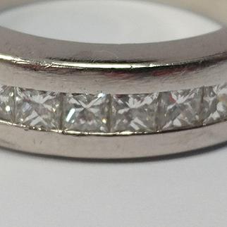 Heavy Platinum Princess Cut Diamond Band