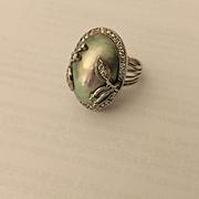 Huge Platinum Diamond Pearl Ring