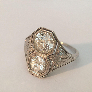 Platinum Euro Cut Diamond RIng