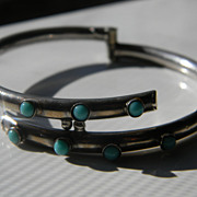 Vintage Sterling Taxco Turquoise ByPass Bracelet