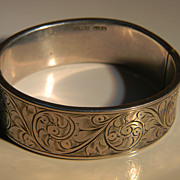English Engraved Sterling Silver Hinged Bangle Bracelet