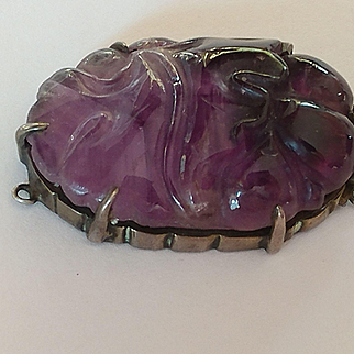 Sterling Carved Amethyst Clasp