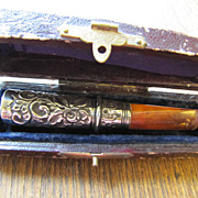 Edwardian Amber and English Sterling Silver Embossed Cigarette Holder with original Leather Case