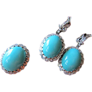 1940's Large Natural Old Turquoise Cabochon 1.20 ct Diamonds Palladium Earrings and Ring SET