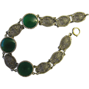Superb Edwardian Art Deco Chrysoprase 14K White Gold Filigree Bracelet with Round Cabochon Stones