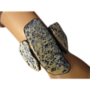 Vega Maddux Huge Cuff Bracelet with Three Dendritic Moss Opal Rare Early Work