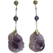 Art Deco Antique Chinese Carved Amethyst Long Dangle Pendant Earrings 14 k Gold 65 mm Long