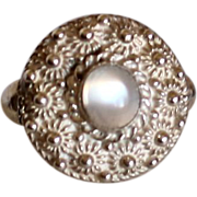 Antique Opalescent Moonstone Cabochon Silver Ring with Cannetille Silver Work Size 8.5