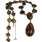 Rare 1950's Christian Dior By Mitchel Maer Lavaliere Style Necklace Rutilated Crystals and Paste