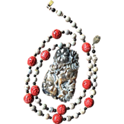 Chinese Hand Carved Jade Pendant with Two Fish and Lotus Flowers on Necklace with Cinnabar Banded Agate Onyx Vermeil Silver