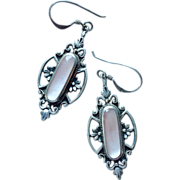Romantic Silver Pendant Dangle Earrings with Pink Stone