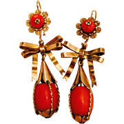 Antique VIBRANT Mediterranean Natural Undyed Red Coral Long Earrings 10 Karat Gold