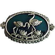 Art Deco Pair of Loving Birds Lotus Flowers on Chrysoprase Sterling Silver Marcasites Pin Brooch