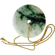 Carved Chinese Mottled White and Green Jade Pendant on 14 karat Gold Chain Necklace