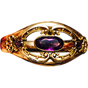 Impeccable Antique Edwardian Gold Filled Bangle Bracelet with Amethyst Pastes
