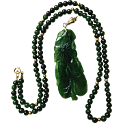 Vintage Natural Untreated Carved Nephrite Jade Eggplant Gourd 14K Gold Enhancer Pendant  on Jade Bead Necklace 14K Gold