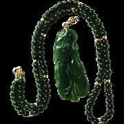 Vintage Natural Untreated Carved Nephrite Jade Eggplant Gourd 14K Gold Enhancer Pendant  on Jade Bead Necklace 14K Gold