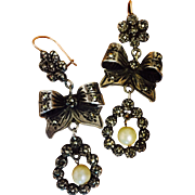Amazing Antique Silver 10K Gold Pyrite Marcasites Chandelier Dangle Earrings 55 mm Long