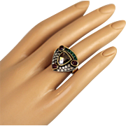 Sparkly Unusual Spectacular Handcrafted Vintage Ring 18 Karat Solid Gold and Silver Large 2 carat Champagne Diamond Emerald Rubies Size 6