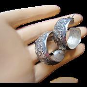 Vintage Native American Navajo Sterling Silver Hoop Earrings with Fine Beautiful Indian Stamping