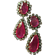 Estate Stunning and Elegant Large Ruby Diamond Dangle Earrings 3 ctw Diamonds 30 ctw Rubies 18K Gold over Sterling Silver