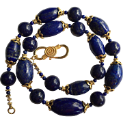 "Vintage Lapis Lazuli Large Bead Necklace with Fine Vermeil Silver Beads 20"" 94 grams Beautiful Blue"
