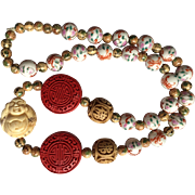 """Beautiful Vintage Carved Bone Netsuke Necklace with Large Cinnabar and Chinese Hand Painted Porcelain Beads 29"""" long"""
