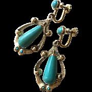 Vintage 18K Gold Turquoise Dangle Earrings with Screw Backs 47 mm Long 9.6 grams