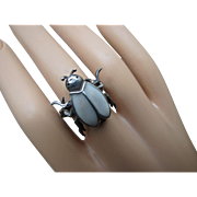 Old Mechanical Ring Scarab Beetle Insect with 6 Movable Legs in Enamel Silver Size 8.75 UNISEX
