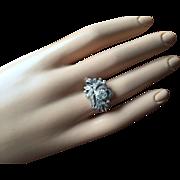 Edwardian Belle Époque Old European Cut 1/2 ct Diamond and 0.45 ct Accent Diamonds Leaf Design 12K Gold Engagement Ring Size 6.5