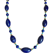 Vintage Large Lapis Lazuli 27 mm Oval Beads Necklace with Turquoise 18 Karat Gold Plated Silver Beads