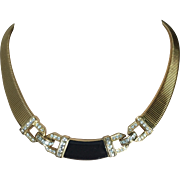 Vintage Christian Dior Gold Tone Choker Necklace Gas Pipe Chain
