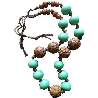 Antique Japanese Carved Nut Beads Antique Apple Green Glass Beads and Copal Beads Necklace