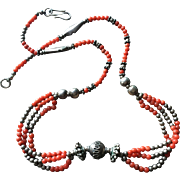 "Vintage Natural Red Undyed Mediterranean Coral Necklace with Sterling Silver Bead Accents 19.25"" Long"