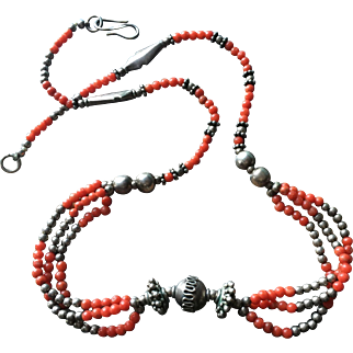 """Vintage Natural Red Undyed Mediterranean Coral Necklace with Sterling Silver Bead Accents 19.25"""" Long"""