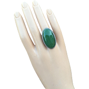 Huge Art Deco Ring Natural Green Chalcedony Agate Cabochon 35 mm Long Size 6.75