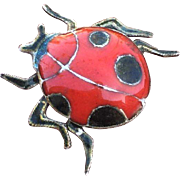 Old Art Deco Lady Bug Insect Pin Brooch Red and Black Enamel 21 mm x 21 mm