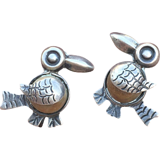 Vintage MEXICO SILVER Bird Earrings