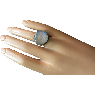Vintage Large Cabochon Moonstone with Blue Hues Silver Ring 21 mm Size 6.5