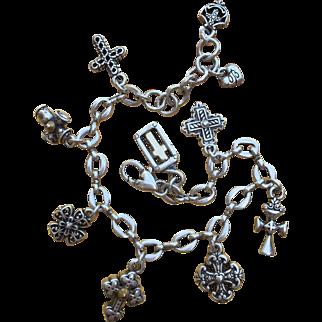 BRIGHTON Sterling Silver 9 Chuncky Crosses Charms BRACELET Signed