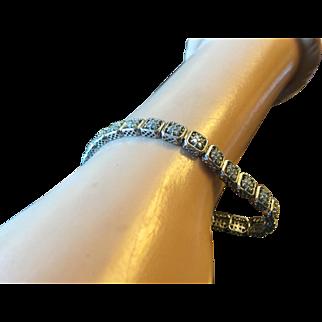 "Vintage Art Deco Style 14 K Gold Filigree Linked Bracelet with 1 ctw Diamonds 7 1/8"" Long 13.1 grams"