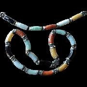 SUPERB Vintage UNDYED Multi Color JADE Necklace and Bracelet in Sterling Silver Domed Cabochon Jade