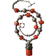 Beautiful Vintage Tibetan Red Coral Beads NECKLACE with Tibetan Red Coral PENDANT in Silver