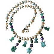Circa 1960's Carved Green Jade Necklace with Amethyst and Faux Pearls Designed by Les Bernard
