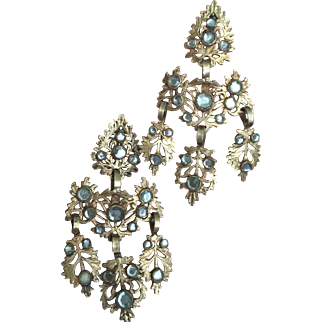 RARE Antique Georgian Girandole Chandelier Gilded Earrings Paste Stones 68 mm Long 40 mm Wide