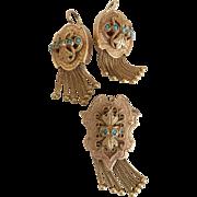 Splendid Victorian 14 Karat Gold Turquoise Earrings and Pendant Pin Tassel Set 24 grams