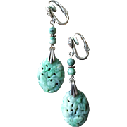 Vintage Chinese Carved and Pierced Mottled Green Jade Sterling Silver Dangle Earrings