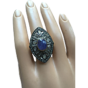 Large Indian Cocktail Ring 35 mm Long 18K Gold over Sterling Silver 3.7ct Tanzanite 1ct Dia Size 8